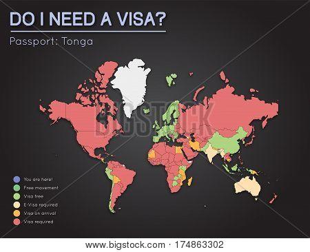 Visas Information For Kingdom Of Tonga Passport Holders. Year 2017. World Map Infographics Showing V