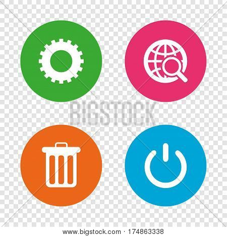 Globe magnifier glass and cogwheel gear icons. Recycle bin delete and power sign symbols. Round buttons on transparent background. Vector