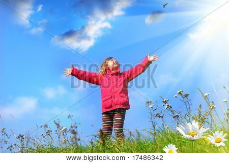 My world, little girl standing with outstretched arms