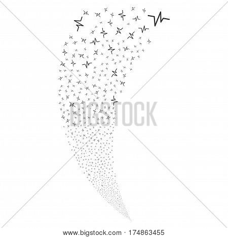 Pulse random fireworks stream. Vector illustration style is flat gray iconic symbols on a white background. Object fountain made from scattered pictograms.