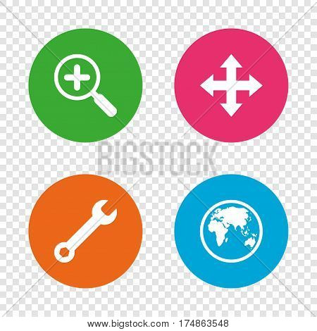 Magnifier glass and globe search icons. Fullscreen arrows and wrench key repair sign symbols. Round buttons on transparent background. Vector