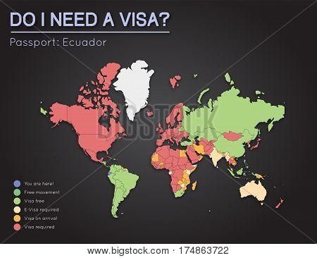 Visas Information For Republic Of Ecuador Passport Holders. Year 2017. World Map Infographics Showin