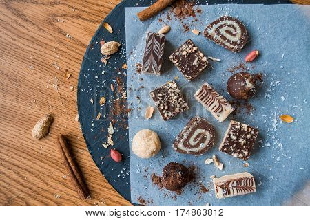 Homemade Cookies Chocolate Sweets on Wooden Table Top View