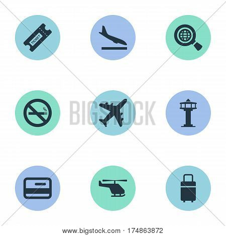 Vector Illustration Set Of Simple Travel Icons. Elements Global Research, Credit Card, Air Transport And Other Synonyms Aircraft, Helicopter And Landing.