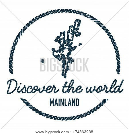 Mainland Map Outline. Vintage Discover The World Rubber Stamp With Island Map. Hipster Style Nautica