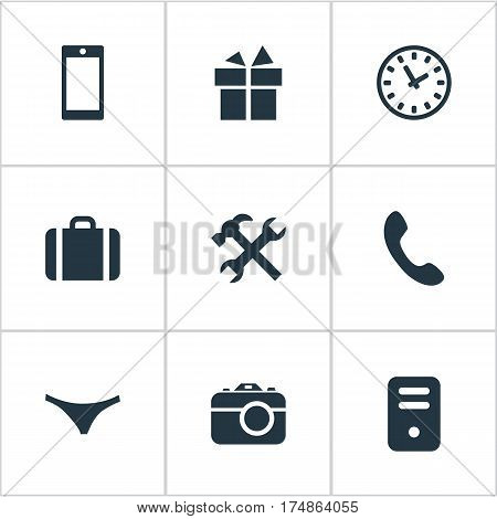 Vector Illustration Set Of Simple Accessories Icons. Elements Repair, Call Button, Briefcase And Other Synonyms Camera, Briefcase And Present.