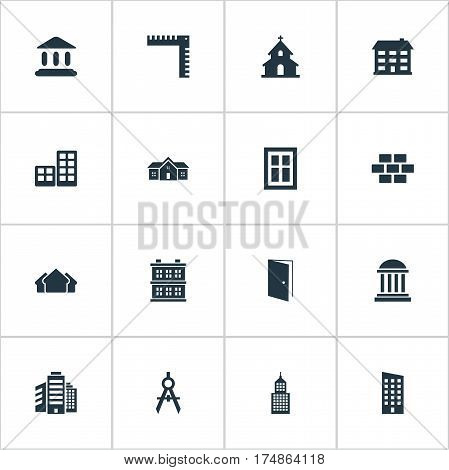 Vector Illustration Set Of Simple Structure Icons. Elements Shelter, Engineer Tool, Popish And Other Synonyms Religious, Windows And Shack.