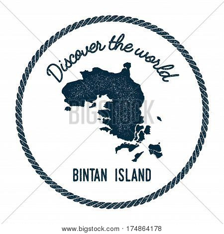 Bintan Island Map In Vintage Discover The World Insignia. Hipster Style Nautical Postage Stamp, With