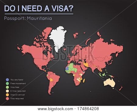 Visas Information For Islamic Republic Of Mauritania Passport Holders. Year 2017. World Map Infograp