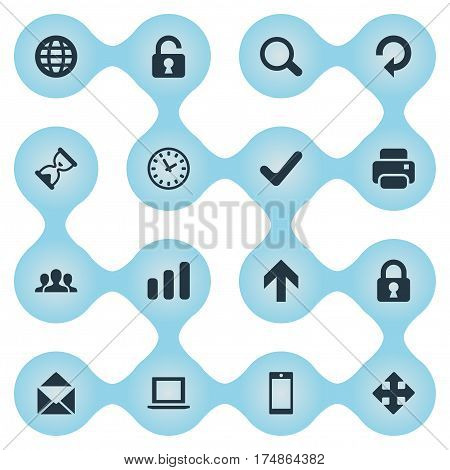Vector Illustration Set Of Simple Application Icons. Elements Watch, Community, Smartphone And Other Synonyms Cooperation, Unlock And Search.