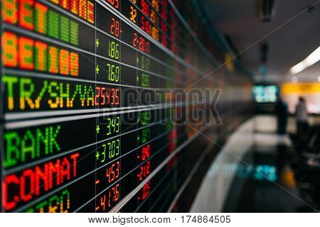 Closeup shot of display electronic board of stock market quotes in trading room