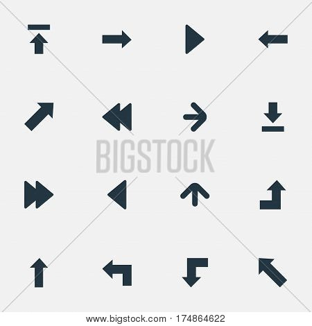 Vector Illustration Set Of Simple Cursor Icons. Elements Left Direction, Indicator, Let Down And Other Synonyms Decline, Direction And Left.