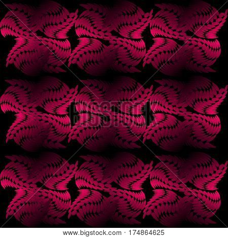 Seamless vector tile composed of uneven abstract shapes red patterns on black background 3d effect vector EPS 10
