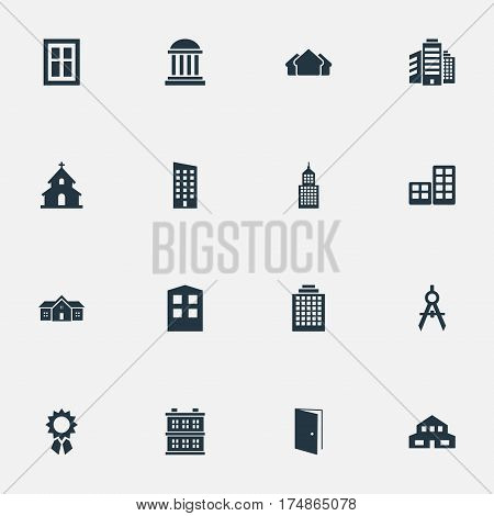 Vector Illustration Set Of Simple Construction Icons. Elements Glazing, Gate, Popish And Other Synonyms Residential, Shanty And Door.