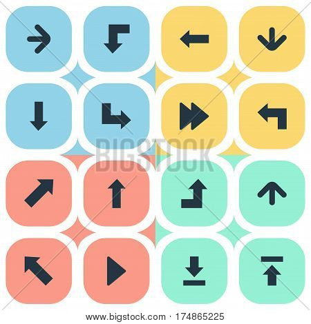 Vector Illustration Set Of Simple Cursor Icons. Elements Reduction, Pointer, Downwards Pointing And Other Synonyms Advanced, Decline And Reduction.