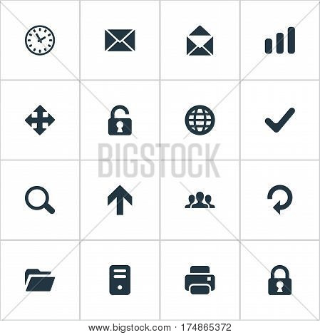 Vector Illustration Set Of Simple Practice Icons. Elements Upward Direction, Printout, Lock And Other Synonyms Invitation, Zoom And Orb.