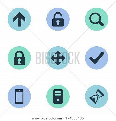 Vector Illustration Set Of Simple Apps Icons. Elements Computer Case, Open Padlock, Sand Timer Synonyms Closed, Magnifier And Check.