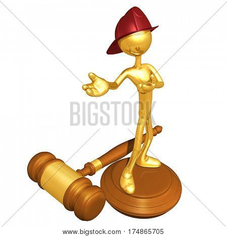 The Original 3D Character Illustration Fire Fighter On A Legal Gavel Block