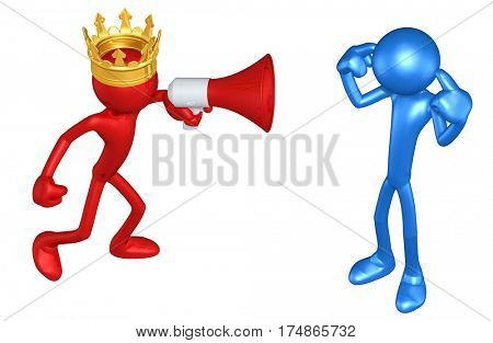 The Original 3D Character Illustration King Shouting At Another