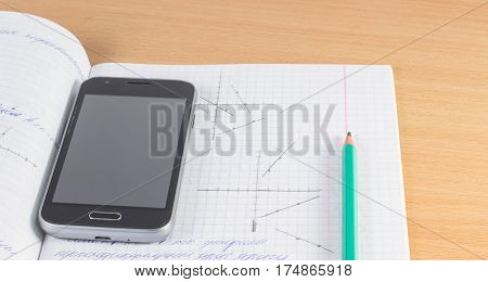 Mathematical education equations and graphs on a sheet in a cell also a simple pencil for drawing graphs