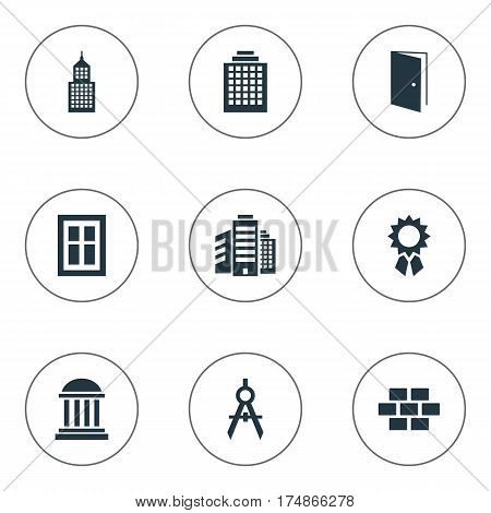 Vector Illustration Set Of Simple Construction Icons. Elements Stone, Offices, Gate And Other Synonyms Open, Scale And Gate.