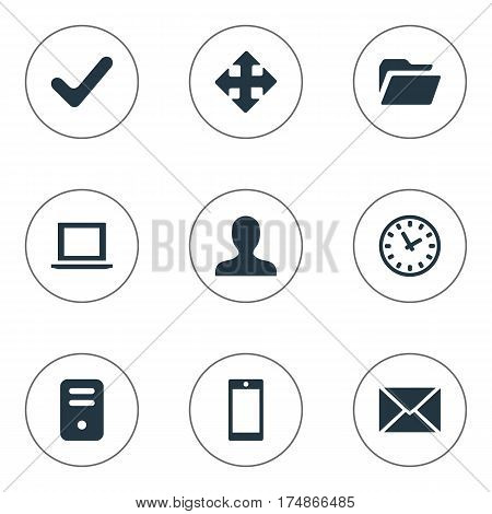 Vector Illustration Set Of Simple Application Icons. Elements Notebook, User, Arrows And Other Synonyms Human, Folder And Hour.