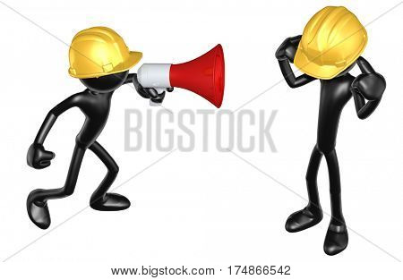 The Original 3D Character Illustration Construction Worker Yelling At Another
