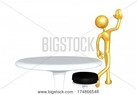 The Original 3D Character Illustration Walking Away From A Table