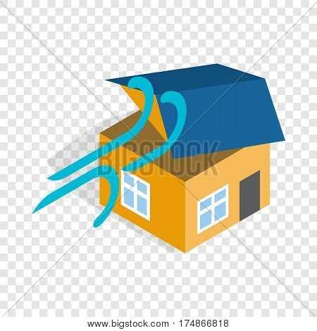 Hurricane destroyed house isometric icon 3d on a transparent background vector illustration