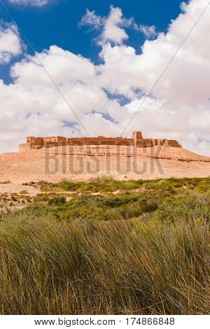 Beautiful image of the old historic Ksar Tafnidilt next to the Wadi Draa near Tan- Tan, Morocco.