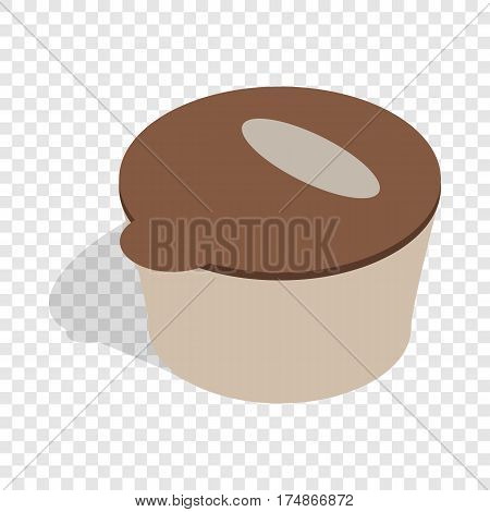 Brown plastic container for food storage isometric icon 3d on a transparent background vector illustration