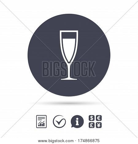 Glass of champagne sign icon. Sparkling wine. Celebration or banquet alcohol drink symbol. Report document, information and check tick icons. Currency exchange. Vector