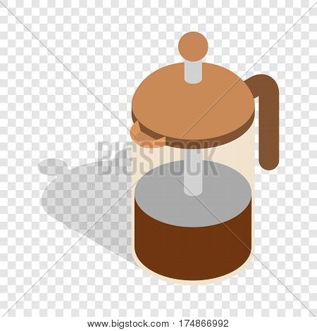 French press coffee maker isometric icon 3d on a transparent background vector illustration