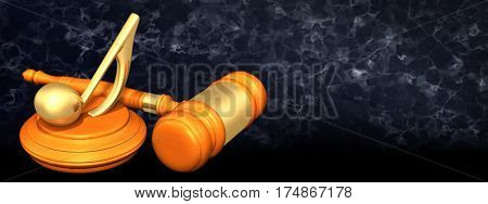 Music Note Legal Gavel Concept 3D Illustration