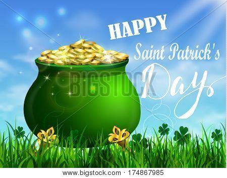 St. Patrick s Day symbol green pot full of gold coins Vector illustration