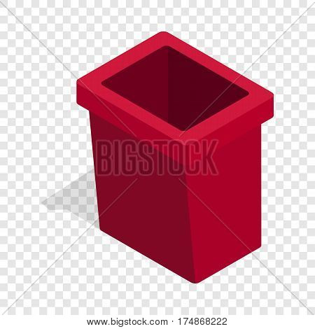 Burgundy trash bin isometric icon 3d on a transparent background vector illustration