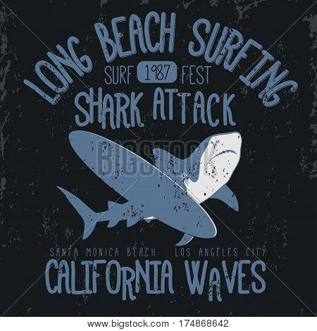 Surfing t-shirt graphic design. Shark Attack Long Beach surfing stamp. California surfers wear typography emblem. Creative design. Vector
