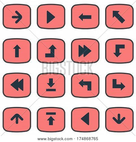 Vector Illustration Set Of Simple Pointer Icons. Elements Pointer, Left Landmark , Pointer Synonyms Backward, Left And Right.