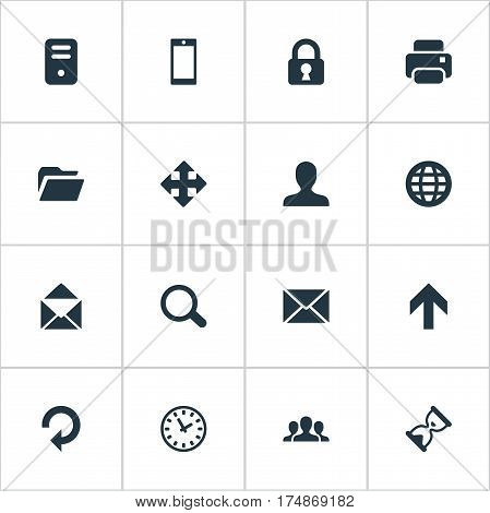 Vector Illustration Set Of Simple Practice Icons. Elements Watch, Computer Case, Dossier And Other Synonyms Touchscreen, Refresh And Dossier.