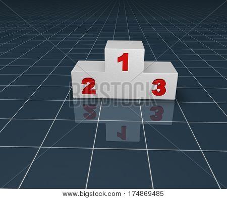 winner podium on blue squared surface - 3d illustration