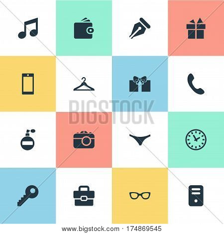 Vector Illustration Set Of Simple Instrument Icons. Elements Mobile Phone, Digital Camera, Hanger And Other Synonyms Phone, Melody And Giveaways.