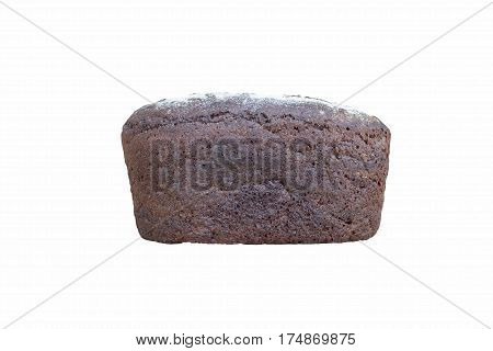 whole loaf of rye bread on a white background