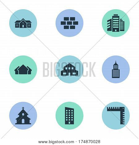 Vector Illustration Set Of Simple Structure Icons. Elements Structure, Length, Residence And Other Synonyms Scale, Edifice And House.