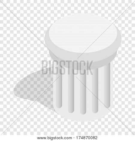 Classical column architecture element isometric icon 3d on a transparent background vector illustration