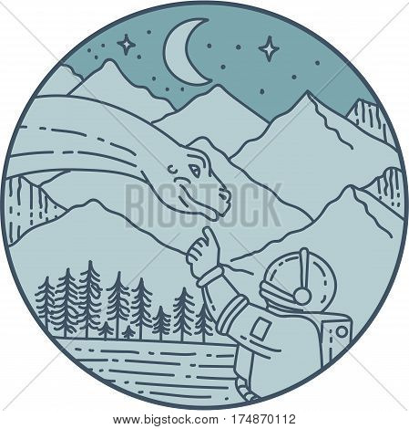 Mono line style illustration of an astronaut touching brontosaurus dinosaur head set inside circle with mountain moon stars and trees in the background.
