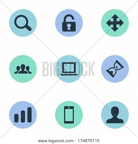 Vector Illustration Set Of Simple Apps Icons. Elements Arrows, Community, Open Padlock And Other Synonyms Community, Team And Profile.