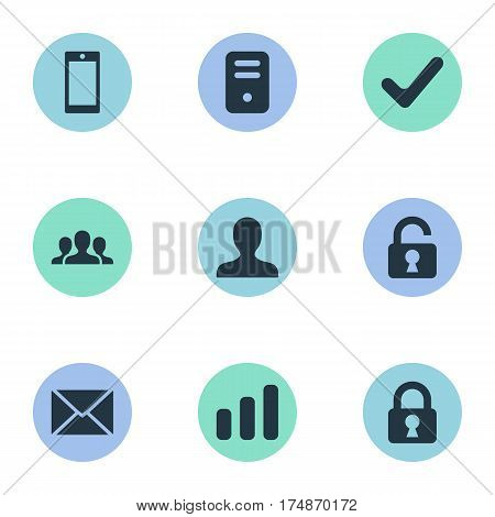 Vector Illustration Set Of Simple Apps Icons. Elements User, Statistics, Message And Other Synonyms Processor, Profile And Open.