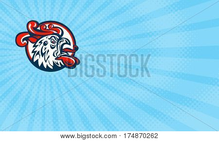 Business card showing Illustration of a rooster cockerel head crowing facing side set inside circle done in retro style.