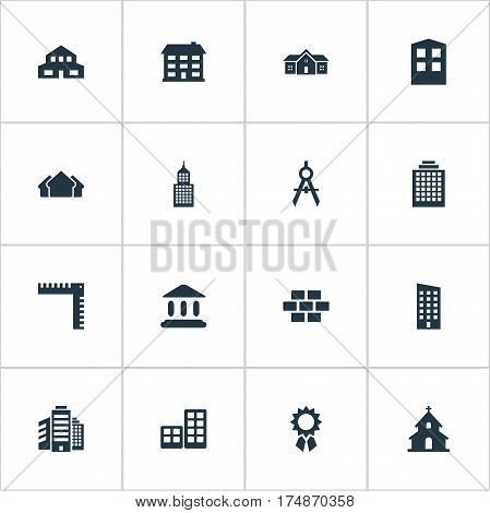 Vector Illustration Set Of Simple Structure Icons. Elements Booth, Flat, Length And Other Synonyms Downtown, Three And Cottage.