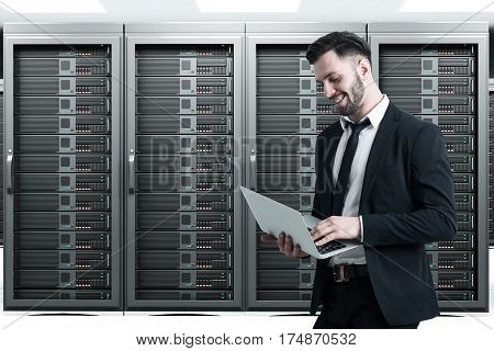 Bearded Man In A Server Room